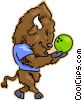 Vector Clip Art picture  of a bison bowling