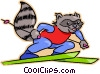 raccoon on downhill skis Vector Clip Art graphic