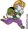 Vector Clipart image  of a ram running with a football