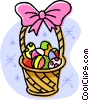 Easter basket filled with eggs Vector Clipart illustration