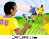 Vector Clipart image  of a Boys playing soccer