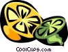 Vector Clipart illustration  of a Sliced lemon and lime