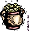 Vector Clip Art graphic  of a pot of gold coins