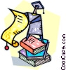 graduate standing on a stack of books Vector Clipart graphic