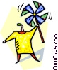Vector Clipart graphic  of a person holding a pinwheel