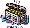 Vector Clip Art image  of a treasure chest with gold coins