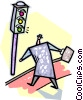 businessman standing at a traffic light Vector Clip Art picture
