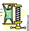 Vector Clip Art image  of a man standing in a vice