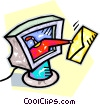 Vector Clip Art image  of a delivering e-mail through a computer