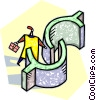 Vector Clip Art picture  of a man walking through a dollar