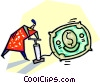 Vector Clip Art graphic  of a using an air pump to inflate a dolla