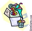 Vector Clipart graphic  of a putting laundry in the laundry machine