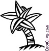 Vector Clip Art image  of a palm tree with coconuts