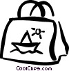 Vector Clipart image  of a beach bag