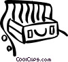 Vector Clip Art image  of a luggage and x-ray machine at
