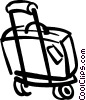 luggage on carrier Vector Clipart illustration