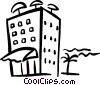 Vector Clip Art graphic  of a hotel on the beach