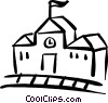 school house Vector Clipart graphic