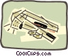 Vector Clip Art image  of a garlic press