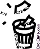 waste paper basket Vector Clip Art graphic