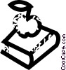 Vector Clip Art image  of a book and apple