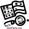 looking at a coin collection under magnifying glass Vector Clipart picture