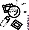 magnifying glass and postage stamps Vector Clip Art picture