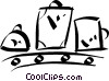 luggage on a conveyor belt Vector Clip Art picture