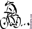 Vector Clip Art picture  of a Japanese person on a bike