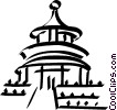 Vector Clip Art graphic  of a Pagoda