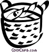 Vector Clip Art image  of a basket of fish