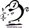 Vector Clipart image  of a coin being put into a piggy