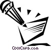 Vector Clip Art graphic  of a pencil and note
