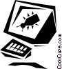 Vector Clipart graphic  of a desktop system with a computer