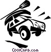 4x4 vehicle with a canoe on the roof Vector Clipart picture