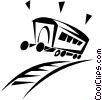 Vector Clip Art image  of a railway car on train tracks