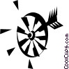 Vector Clip Art graphic  of a Dartboards Darts
