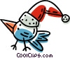 bird wearing a Christmas hat Vector Clip Art picture