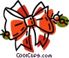Christmas ribbon tied in a bow Vector Clipart graphic