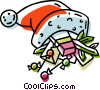hat with Christmas gifts in it Vector Clipart illustration