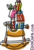 Vector Clip Art image  of a rocking horse with presents