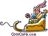 Vector Clipart graphic  of a Christmas sleigh full of