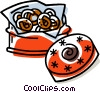 Vector Clip Art picture  of a cookies in a cookie tin