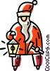 Vector Clipart graphic  of a Santa an oil lamp and pick axe