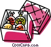 Vector Clipart graphic  of a box of Christmas decorations