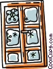Vector Clip Art graphic  of a snow flakes on a glass door