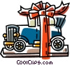 Vector Clipart graphic  of an antique car wrapped as a