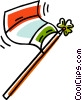 Vector Clip Art graphic  of a flag on a flagpole