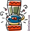 Vector Clip Art graphic  of a records being played on a