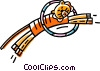 Vector Clip Art graphic  of a tiger jumping through a hoop